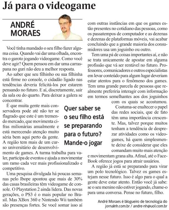 artigo ja para o video game andre moraes jornal nh